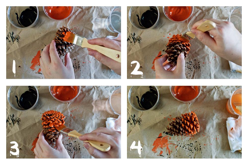 Dip-dyed Pine Cones - Steps