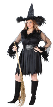 Plus Size Feather Witch Costume