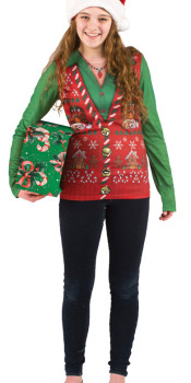 Ladies Ugly Christmas Vest T-Shirt