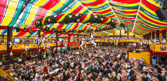 Image of inside the large Hippodrom Beer tent at Munich Oktoberfest.