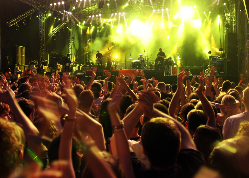 people enjoying live music rock concert at music festival