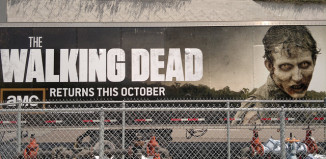 Image of AMC's walking dead sign for television series.
