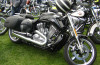 Image of harley davidson motorcycle at biker rally.