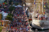 Image of crowd at dock of Tall Ship.