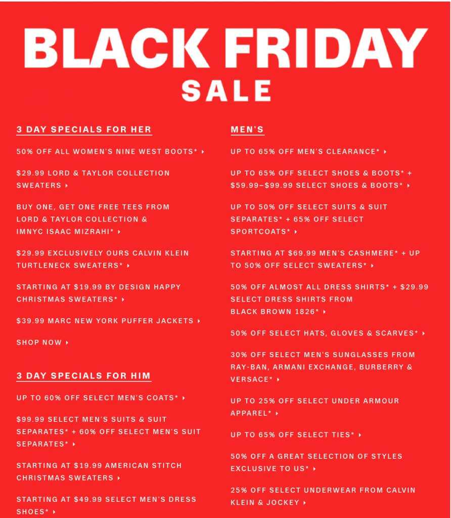 Lord And Taylor Black Friday Deals For 2017 Funtober