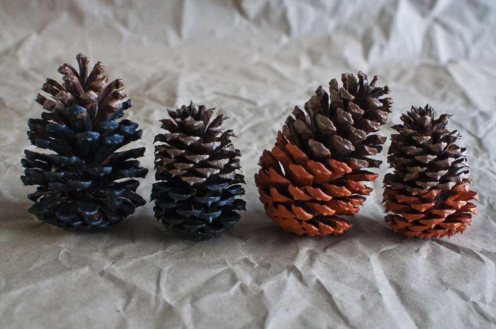 Dip-dyed Pine Cones - Finished!