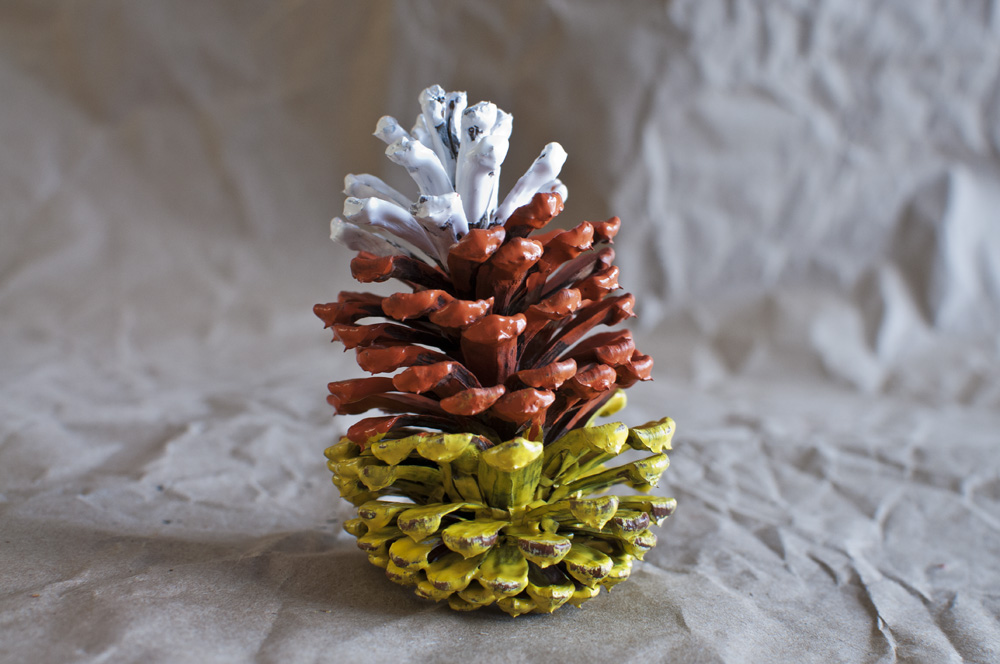 Dip-dyed Pine Cones - Candy Corn