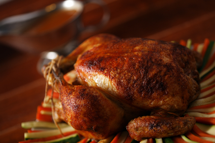 Roast chicken on vegetable