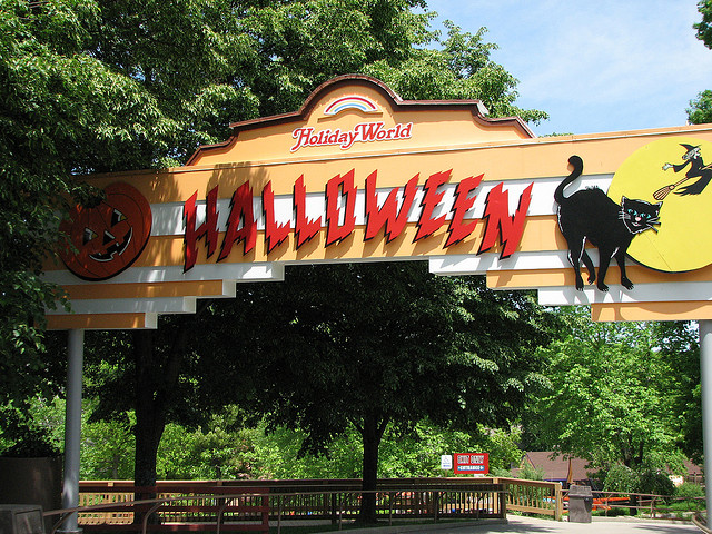 Image of Halloween sign at Holiday World Theme Park.