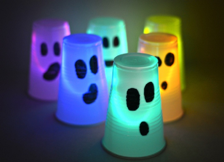 Image of glowing cups for Halloween party.