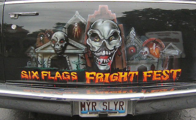 Image of Six Flags Fright Fest hearse
