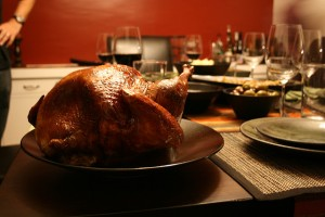 Thanksgiving turkey at dinner table.