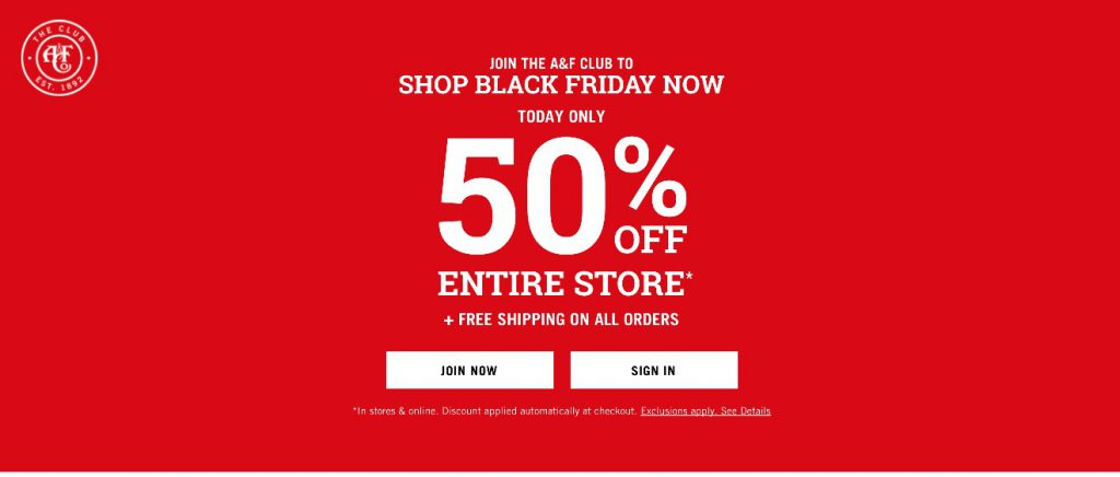Abercrombie and Fitch Black Friday 2020 Ads - Funtober