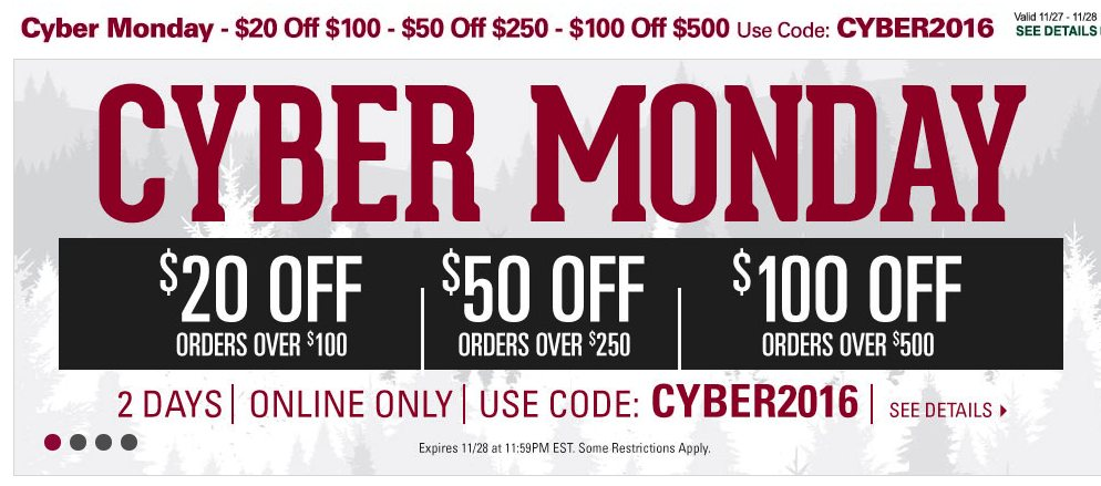 be78f3ef7 We expect Gander Mountain will release its online deals and discounts for Cyber  Monday 2019 around Thanksgiving weekend. Here are some of the savings that  ...