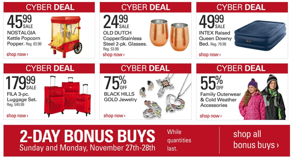 2fbbd0c44 These are some of the online deals and discounts on Cyber Monday last year.  We will post the savings available for Cyber Monday 2018 when available in  late ...