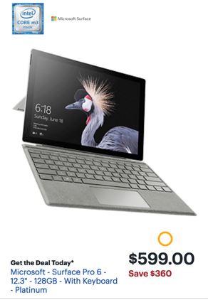 Microsoft Surface Pro 6 Black Friday 2019 & Cyber Monday